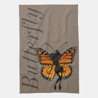 CUTE MONARCH BUTTERFLY LADY KITCHEN TOWEL