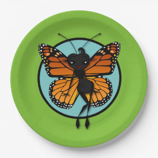 CUTE MONARCH BUTTERFLY LADY PAPER PLATES 9 INCH PAPER PLATE
