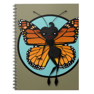 CUTE MONARCH BUTTERFLY LADY SPIRAL NOTEBOOK