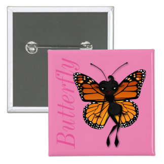 CUTE MONARCH BUTTERFLY LADY SQUARE BUTTON