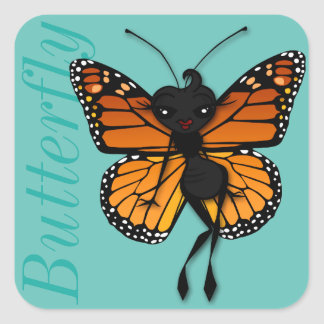 CUTE MONARCH BUTTERFLY LADY SQUARE MATTE STICKERS