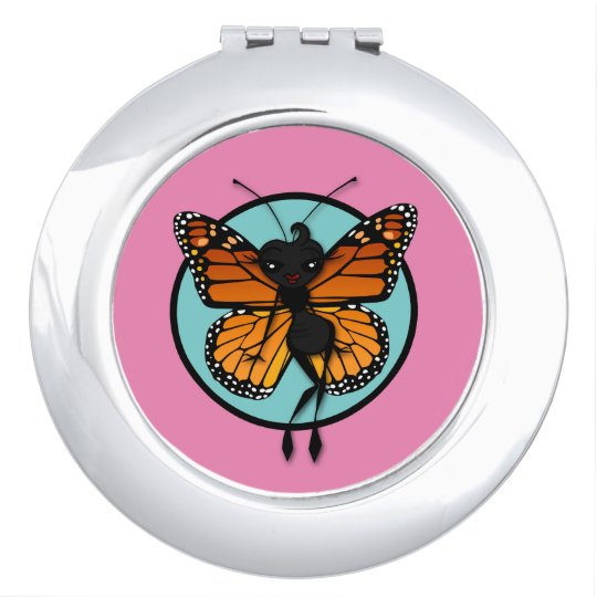 CUTE MONARCH BUTTERFLY ROUND COMPACT MIRROR