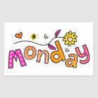 Cute Monday Week Day Greeting Text Expression Sticker