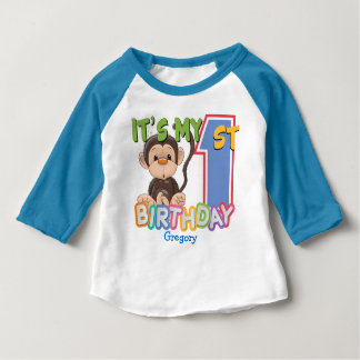 Cute Monkey 1st Birthday Baby T-Shirt
