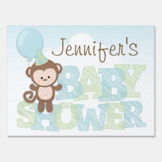Cute Monkey; Blue & Green Baby Shower Sign