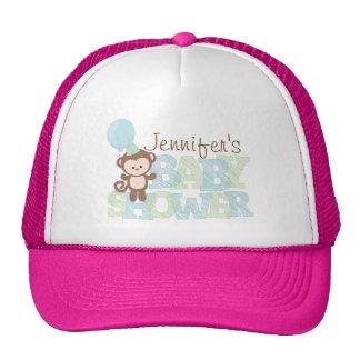 Cute Monkey; Blue & Green Baby Shower Trucker Hat