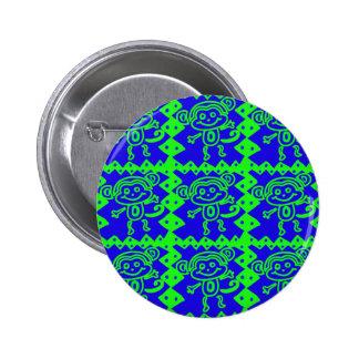 Cute Monkey Blue Lime Green Animal Pattern Pin