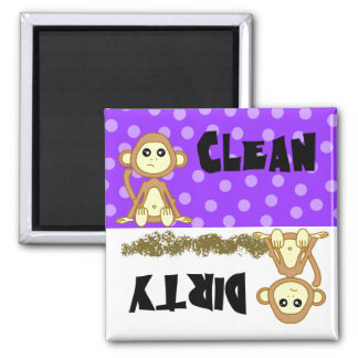Cute Monkey Clean / Dirty Purple Dishwasher Magnet
