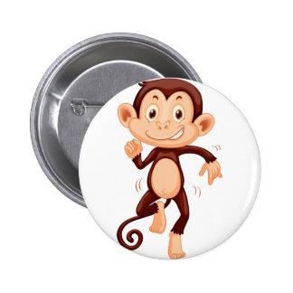 Cute monkey dancing alone 2 inch round button