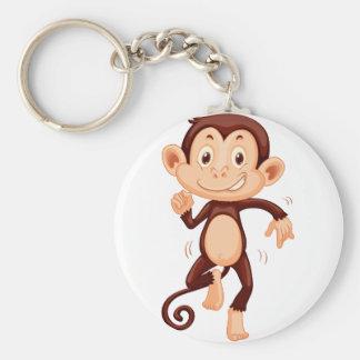 Cute monkey dancing alone basic round button keychain