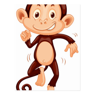 Cute monkey dancing alone postcard