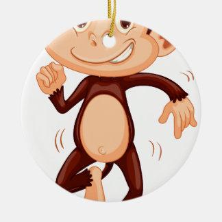 Cute monkey dancing alone round ceramic ornament