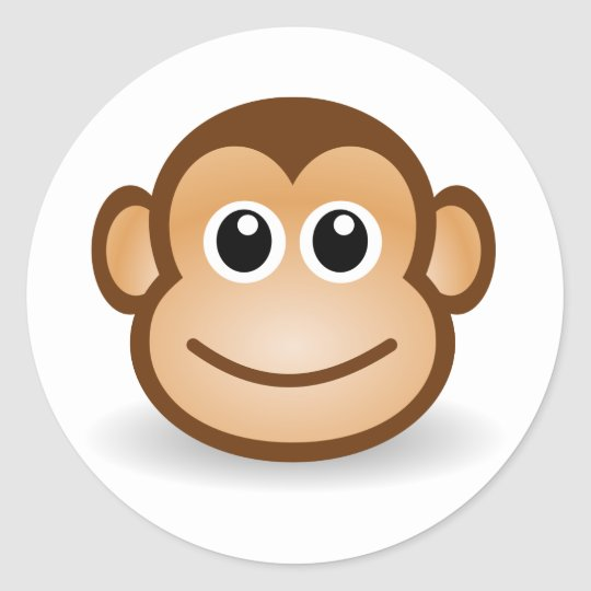 Cute Monkey Face Classic Round Sticker