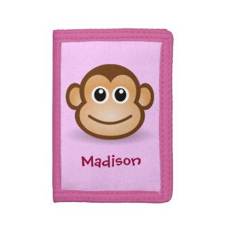 Cute Monkey Face Trifold Wallet