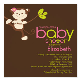 Cute Monkey Girl Baby Shower Invitation