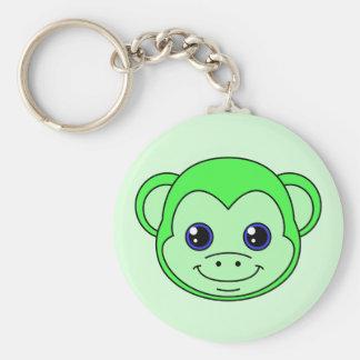 Cute Monkey Green Apple Keychain