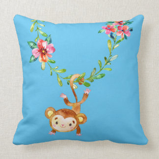 Cute Monkey Hanging from a Vine Throw Pillow