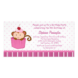 Cute monkey in a cupcake birthday party invitation photo cards