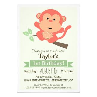 "Cute Monkey, Jungle Animal Kid's Birthday Party 5"" X 7"" Invitation Card"