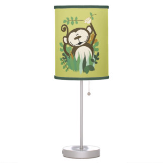 Cute Monkey Jungle Green/Brown Nursery Lamp