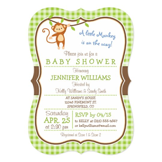 Cute Monkey; Jungle Theme Baby Shower Invitation