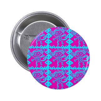 Cute Monkey Magenta Teal Animal Pattern Kids Gifts Button