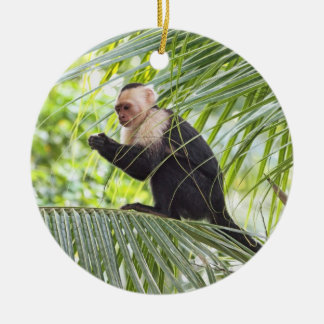 Cute Monkey on a Palm Tree Ceramic Ornament