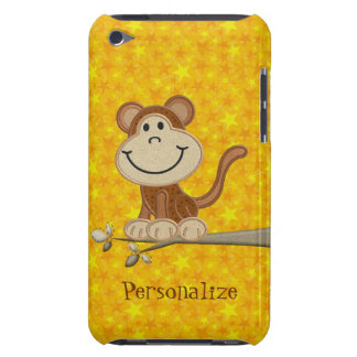 Cute Monkey on Branch Personalized iPod Touch Case