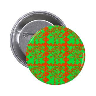 Cute Monkey Orange Green Animal Pattern Pins
