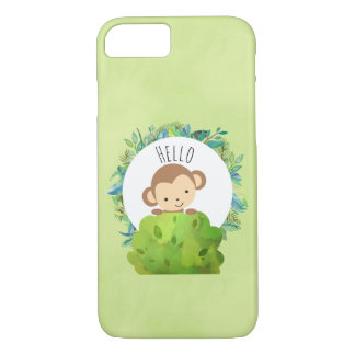 Cute Monkey Peeking Out from Behind a Bush Hello iPhone 8/7 Case