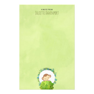 Cute Monkey Peeking Out from Behind a Bush Hello Stationery
