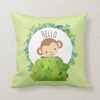 Cute Monkey Peeking Out from Behind a Bush Hello Throw Pillow