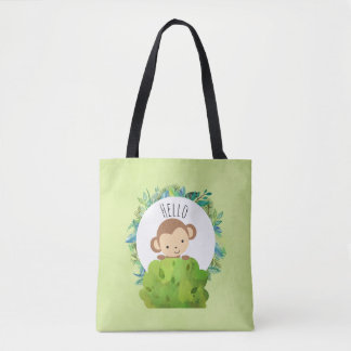 Cute Monkey Peeking Out from Behind a Bush Hello Tote Bag