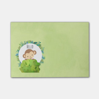 Cute Monkey Peeking Out from Behind a Bush Post-it Notes