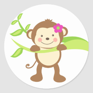 Cute Monkey.png Classic Round Sticker