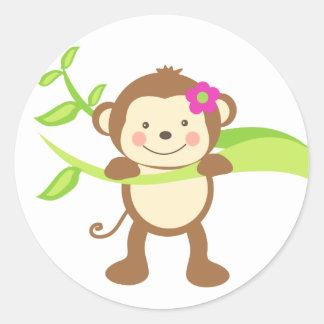 Cute Monkey.png Classic Round Sticker
