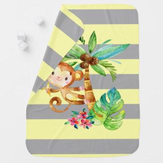 Cute Monkey Shenanigan Stripes Baby Blanket