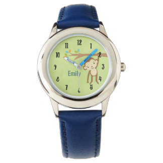 Cute Monkey Swinging From a Branch Personalized Watch