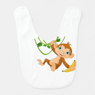 Cute Monkey with Banana Bib