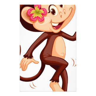 Cute monkey with flower smiling customized stationery