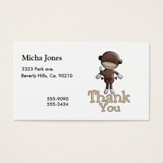 Cute Monkey With Hearts Thank You Business Card