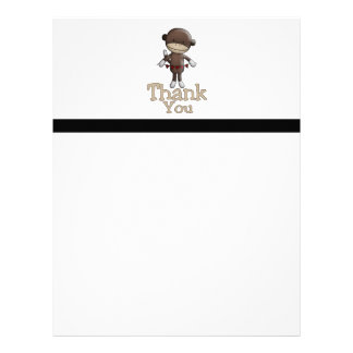 Cute Monkey With Hearts Thank You Letterhead Design