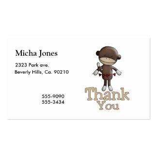 Cute Monkey With Hearts Thank You Pack Of Standard Business Cards