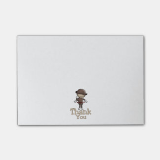 Cute Monkey With Hearts Thank You Post-It Note