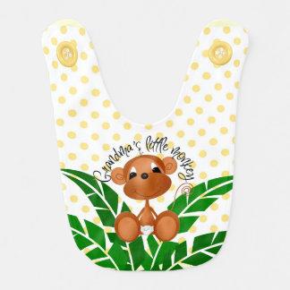 Cute Monkey with Jungle Plant on Dots Baby Bib