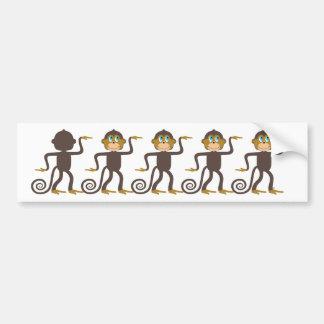 Cute monkeys pattern, boys, girls, personalized car bumper sticker