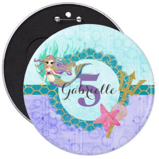 Cute Monogram Age Mermaid Teal & Purple Birthday 6 Inch Round Button