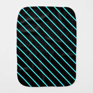 Cute monogram aqua black stripes baby burp cloths