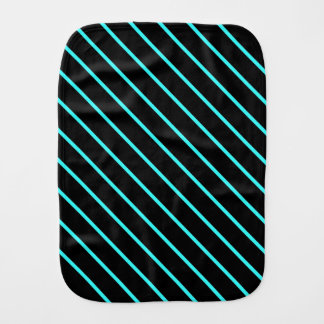 Cute monogram aqua black stripes burp cloth
