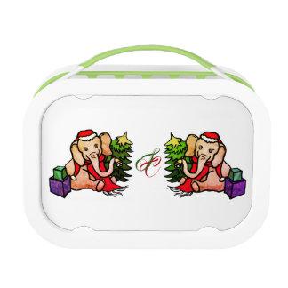 Cute Monogram Christmas Santa Cartoon Elephants Lunch Box